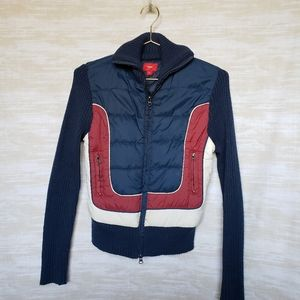 Retro navy blue striped sweater parka